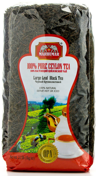 Picture of SET OF 6 BAGS MARHUMAR LARGE LEAF BLACK 100% PURE CEYLON TEA (2.2lb, Total 13.2lb)
